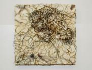Miyagi, Meech_afterhyperpolarization-stabilization, copper wire, ink on paper, bowling alley wax